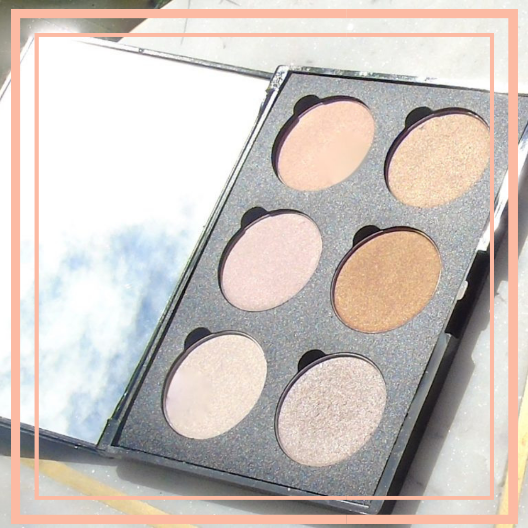 a make up palette open with 6 shades being shown