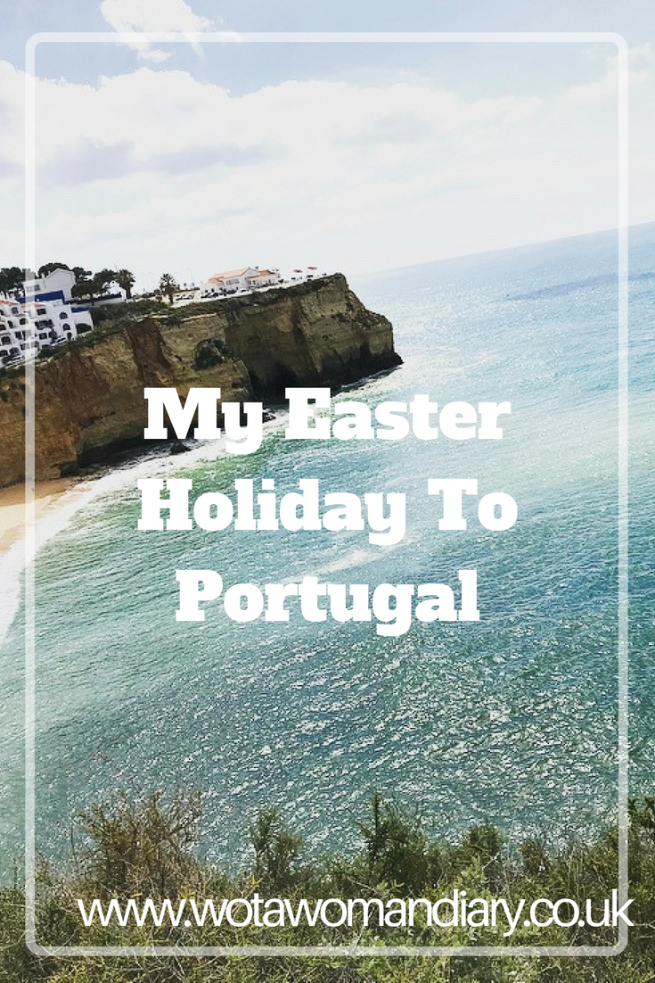 my easter holiday to Portugal text image with a cliff scenary