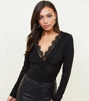 black-ribbed-lace-trim-long-sleeve-bodysuit-