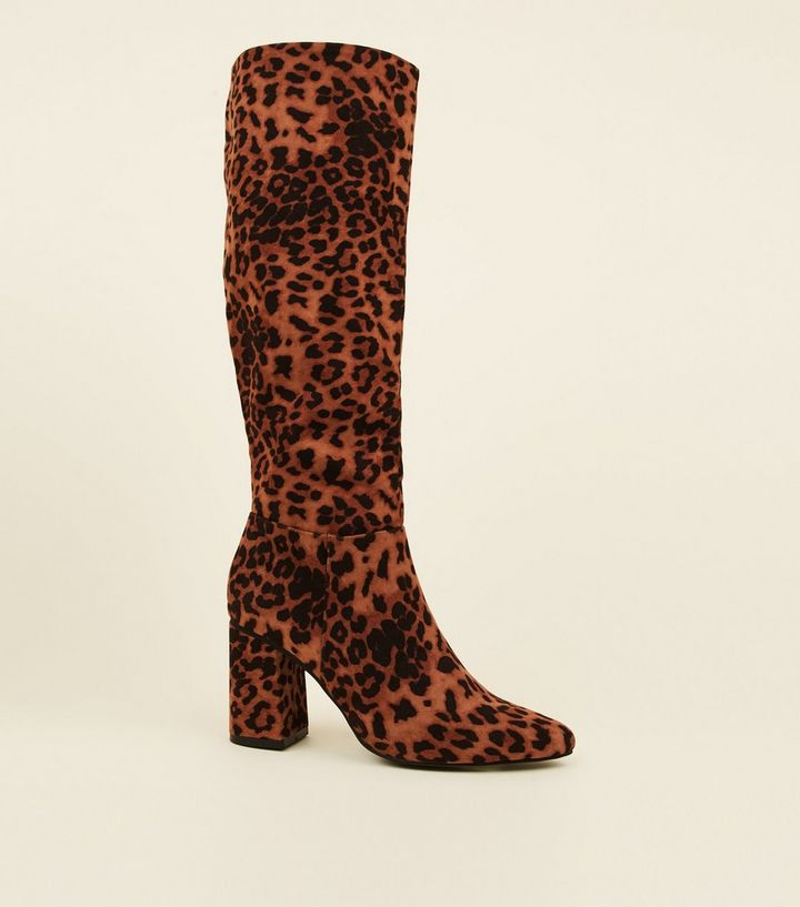 stone-leopard-print-suedette-knee-high-boots