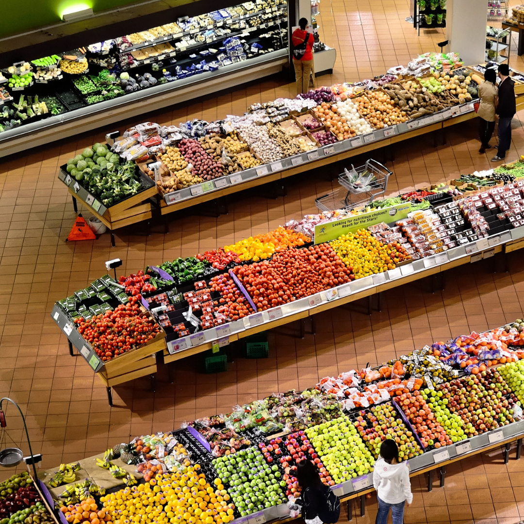 aerial view of a fresh food in a supermarket