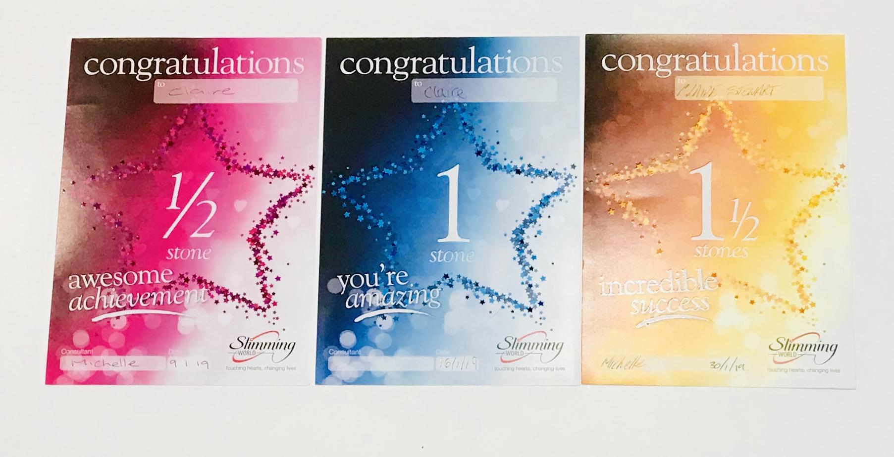 slimming world certificates