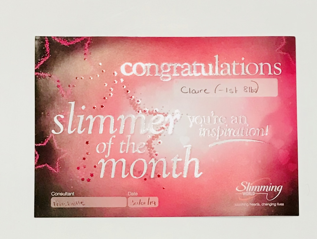 slimming world certificates