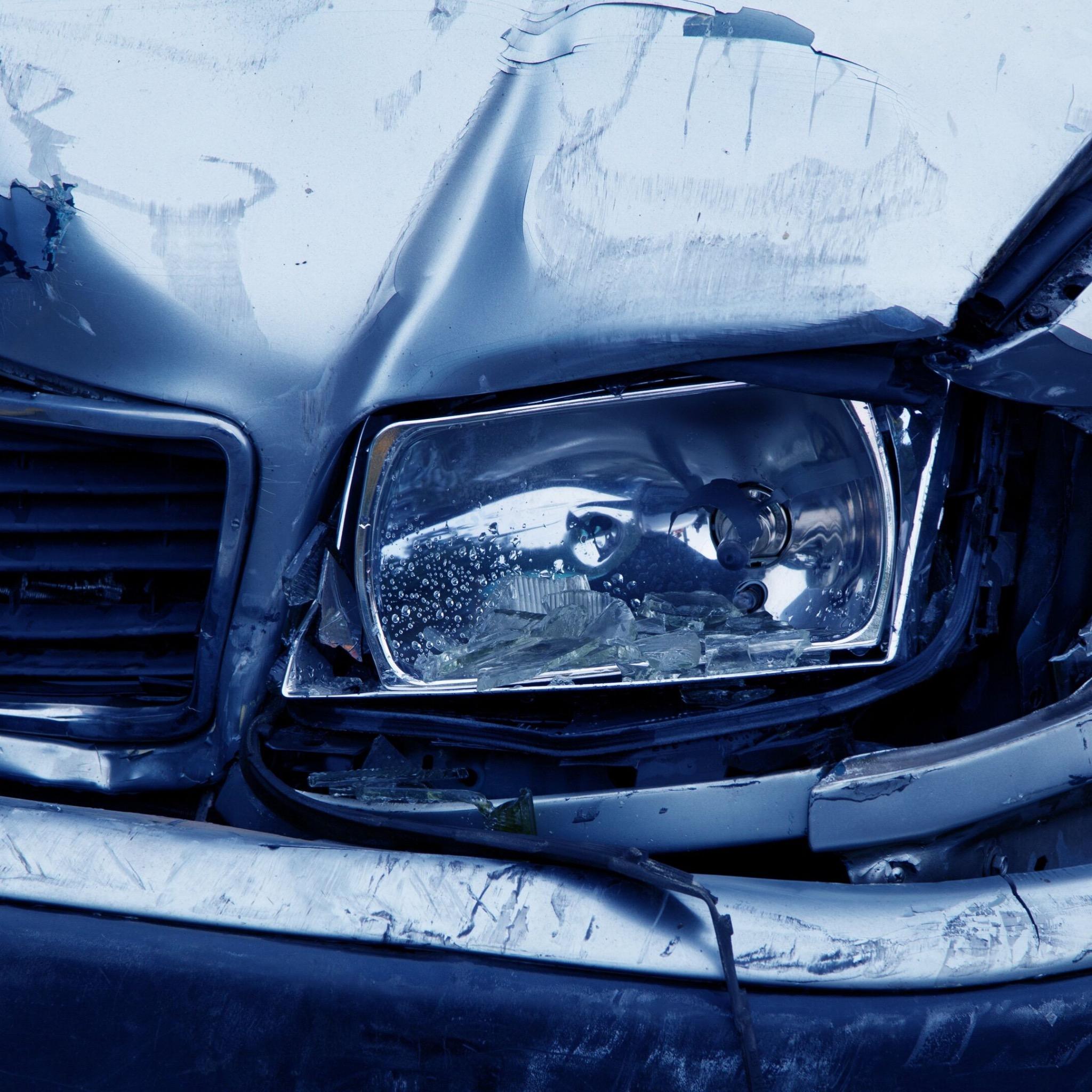 broken car headlight