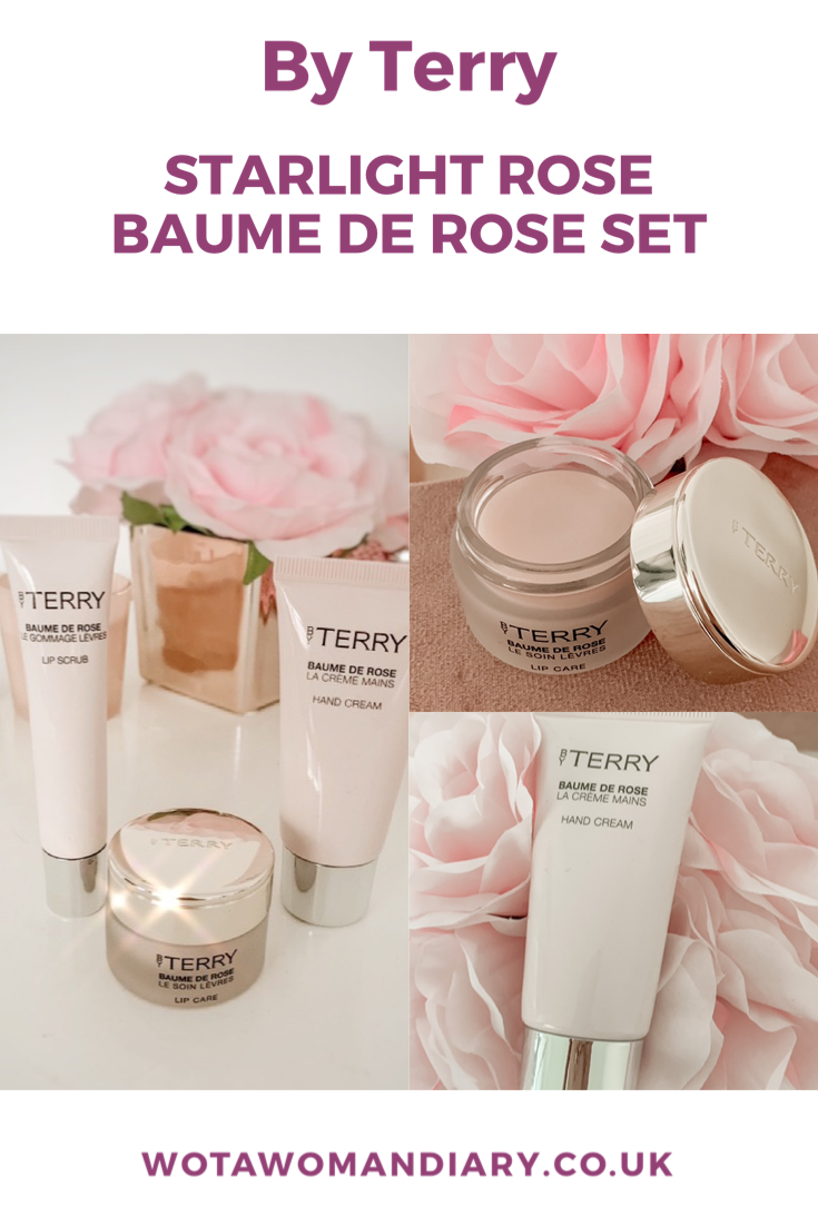 a collage of 3 images containing the pale pink trio of by terry products with illustrative text saying starlight baume de rose set