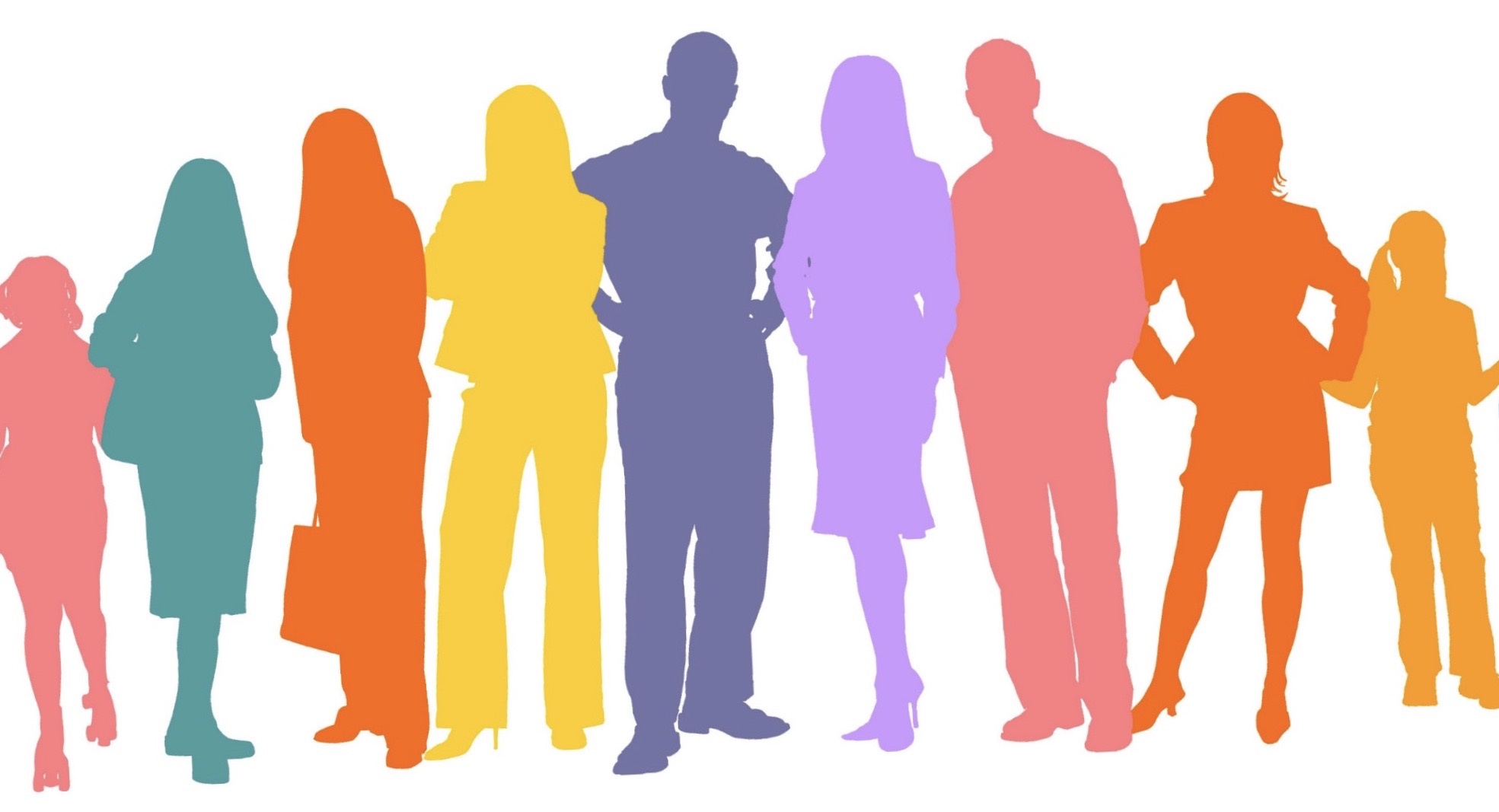 A row of peoples outlines boldly coloured in