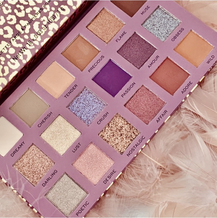 eyeshadow palette open to show the colours