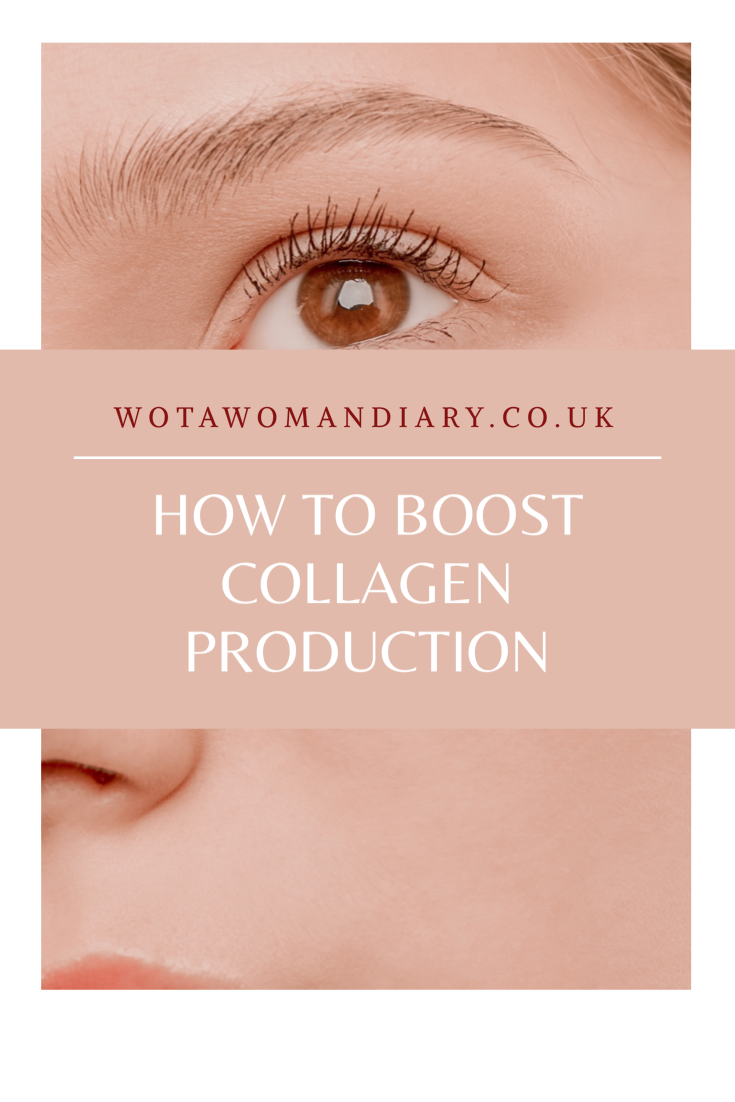 a text image saying how to boost collagen production. The text is written on top of a close up of a ladies face