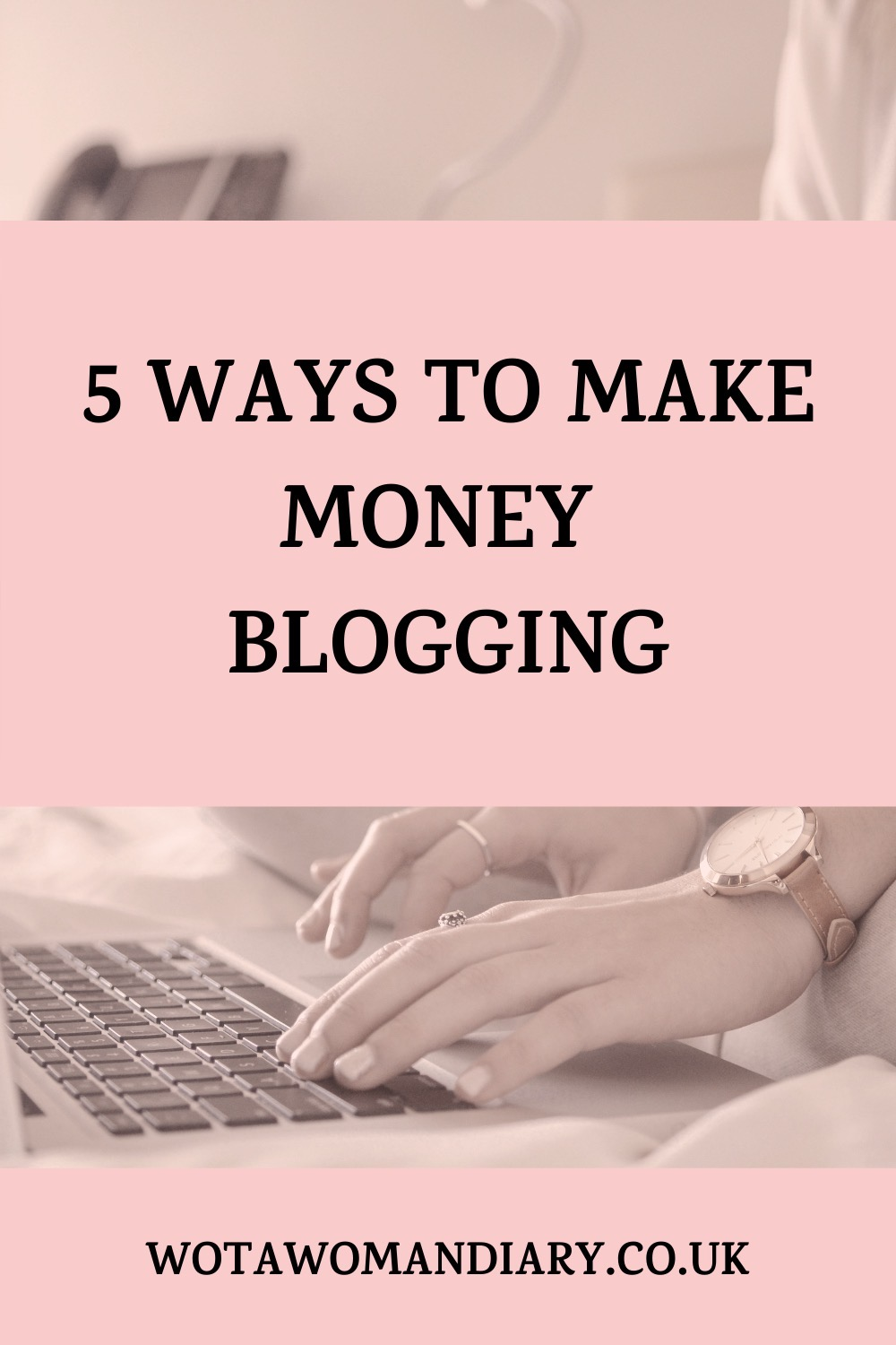 text image in bold font reads 5 ways to make money blogging