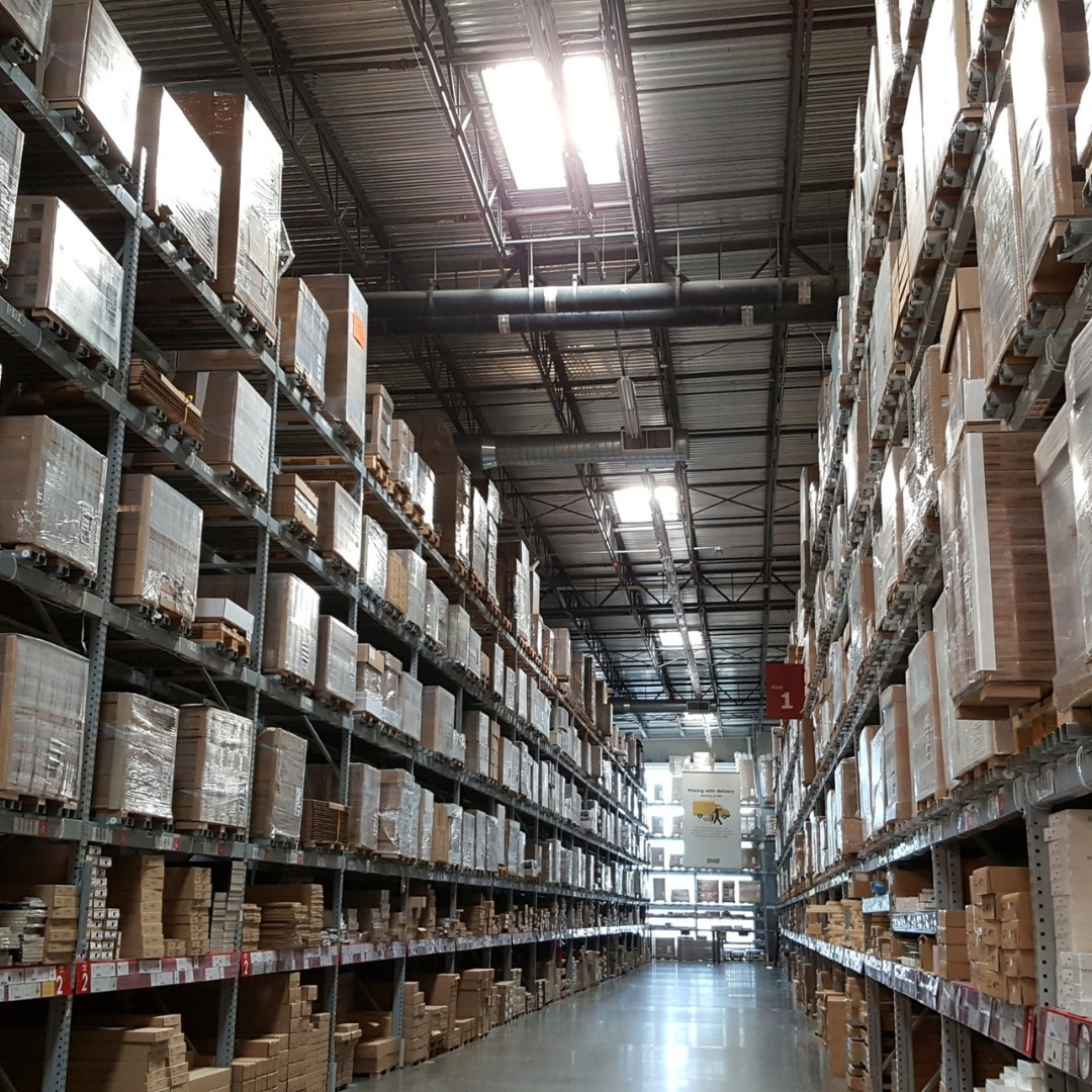 a huge aisle in a storage unit